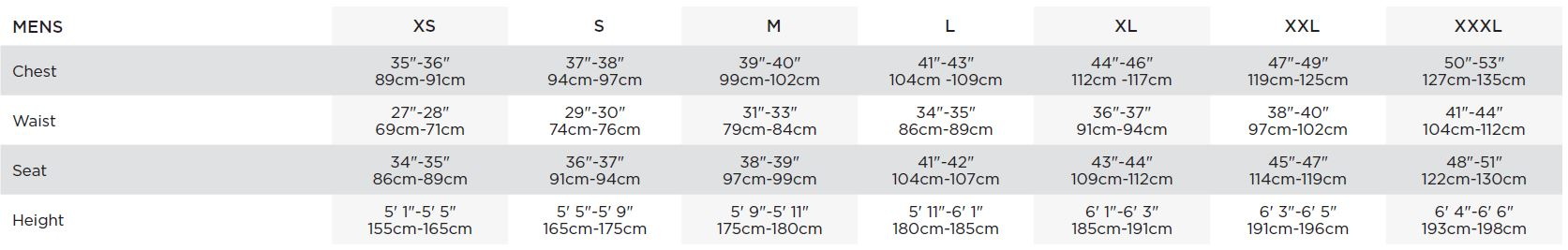 Bauer Men's Apparel Sizing Chart