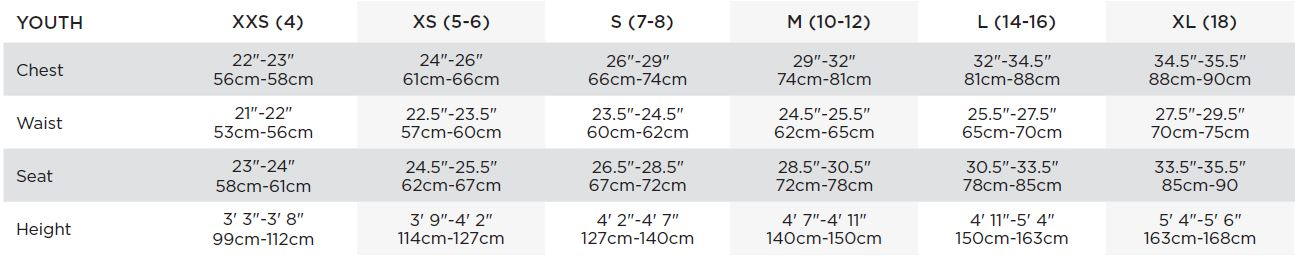 Bauer Youth Apparel Sizing Chart