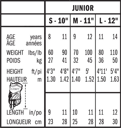 Bauer Junior Glove Sizing, Bauer Junior Glove Size Chart