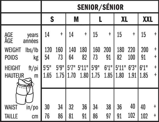 Bauer Senior Ice Hockey Pant Size Chart