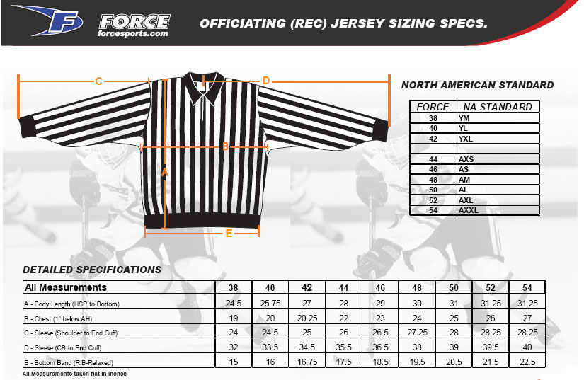 Force Referee Shirt Sizing, Force Referee Shirt Sizing